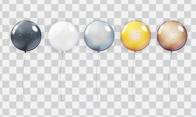Ensemble de collection de ballons réalistes isolé sur fond transparent.