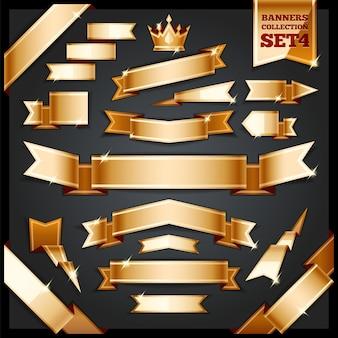 Ensemble de collection de bannières de rubans d'or