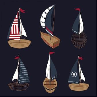 Ensemble de collection de bateaux dessinés à la main de l'été