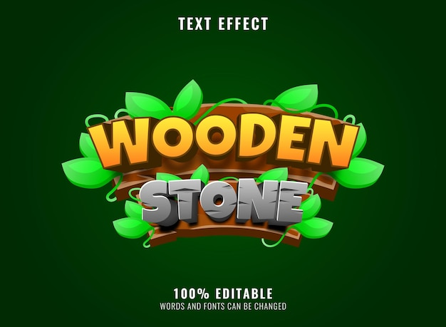 Ensemble de collection de bois avec modèle de panneau de bannière de feuille de branche pour les éléments d'actif de l'interface utilisateur du jeu