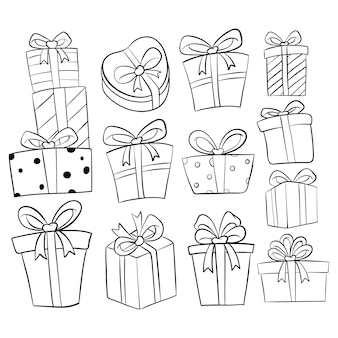 Ensemble de collection de boîte de cadeau d'anniversaire avec style dessiné à la main ou doodle sur blanc