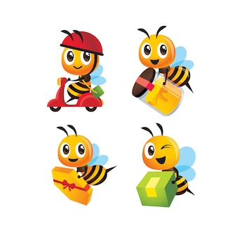 Ensemble de collection de bouteille et colis de miel de livraison d'abeilles mignonnes de dessin animé