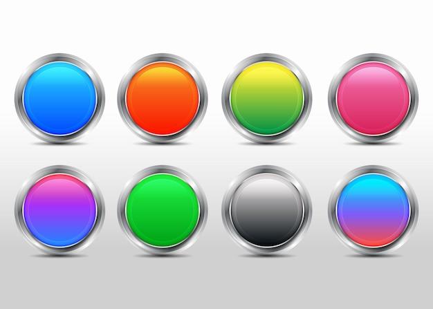 Ensemble de collection de boutons 3d colorés