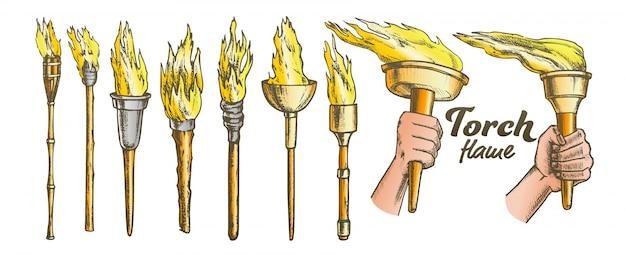 Ensemble de collection brûlant de la torche