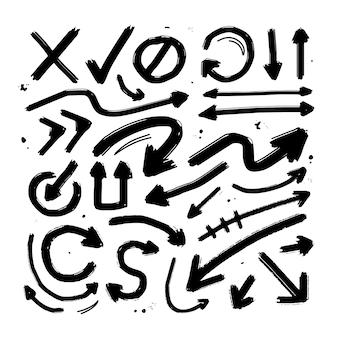 Ensemble de collection brush de flèche avec texture de pinceaux