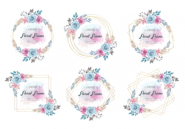 Ensemble de collection de cadre floral vintage aquarelle