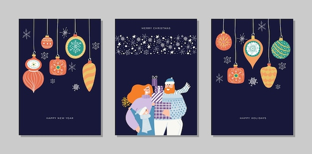 Ensemble de collection de cartes dessinés à la main joyeux noël et bonne année