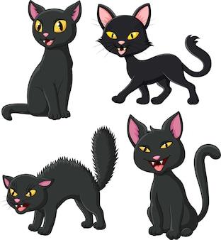 Ensemble de collection chat noir dessin animé