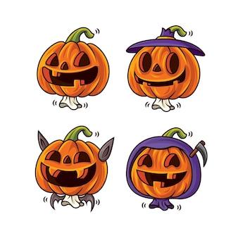 Ensemble de collection de citrouilles d'halloween mignonnes de dessin animé avec différents visages et costumes