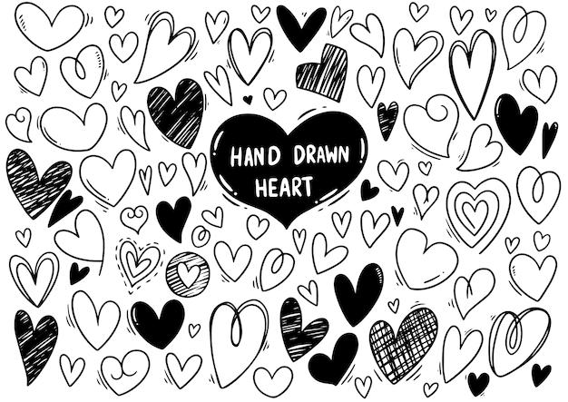 Ensemble de collection de coeurs de gribouillis dessinés à la main, isolé sur fond blanc