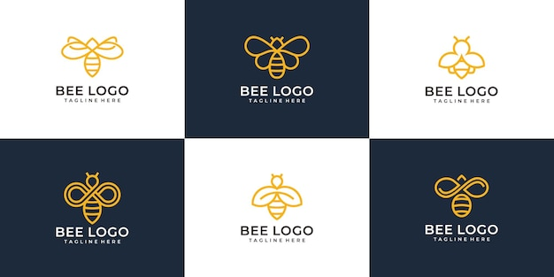Ensemble de collection de concept de design logo abeille monogramme moderne.