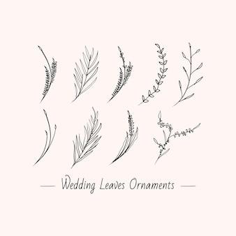 Ensemble de collection de conception de décoration de mariage de feuilles florales minimalistes dessinées à la main