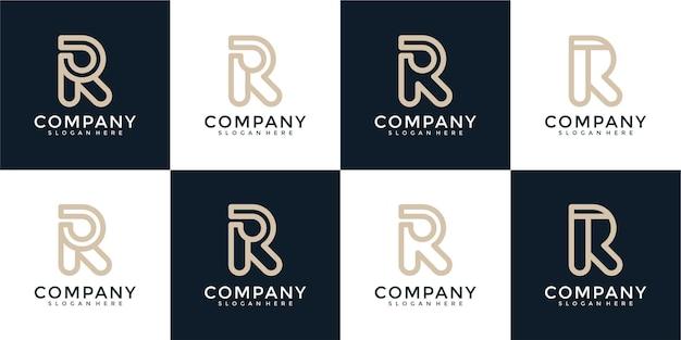 Ensemble de collection de conception de logo créatif lettre r abstrait