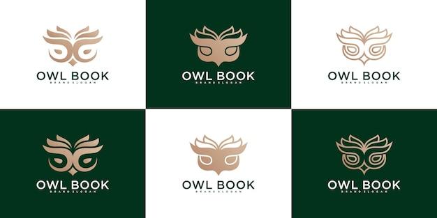 Ensemble de collection de conception de logo de livre de hibou moderne premium vektor