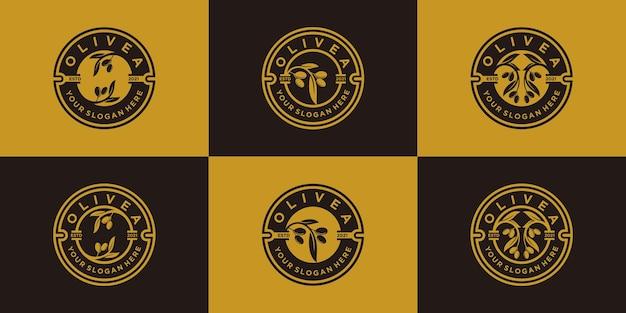 Ensemble de collection de conception de logo d'olivier et d'huile avec style d'emblème moderne premium vektor, partie 1