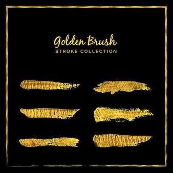 Ensemble de collection de coup de pinceau doré sur fond noir ou peinture brus