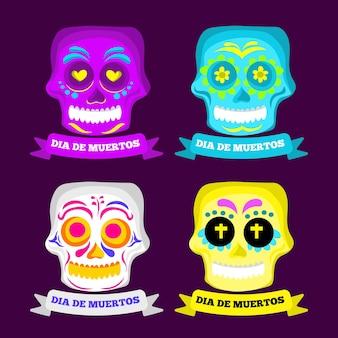 Ensemble de collection de crânes dia de muertos vector design plat