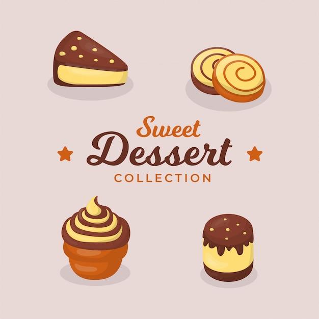 Ensemble de collection de desserts au chocolat sucré
