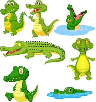 Ensemble de collection de dessin animé de crocodile vert