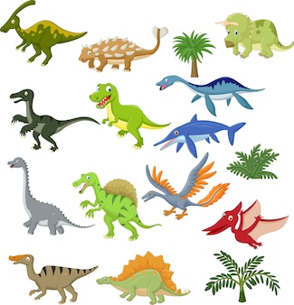 Ensemble de collection de dessin animé de dinosaure