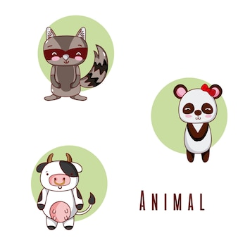 Ensemble de collection de dessins animés animaux mignons
