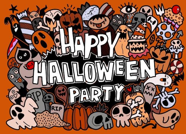Ensemble de collection de dessins animés doodle dessinés à la main d'icône drôle sur le jour d'halloween