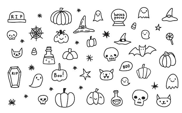 Ensemble de collection de dessins animés doodle d'icônes et de symboles sur le jour d'halloween, fond isolé