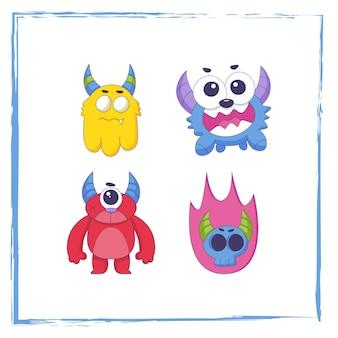 Ensemble de collection de dessins animés monstre mignon