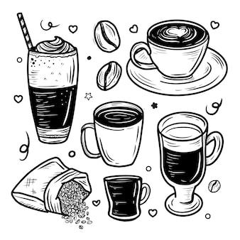 Ensemble de collection de dessins de doodle café