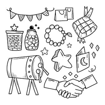 Ensemble de collection de dessins de doodle islamique eid al fitr