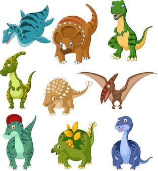 Ensemble de collection de dinosaures de dessin animé