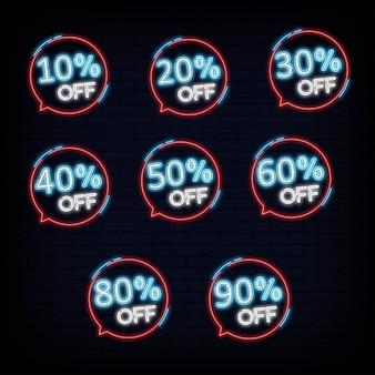 Ensemble collection discount néon bannière lumière bannière élément de design coloré design moderne tendance nuit lumineux publicité signe lumineux