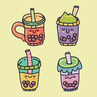 Ensemble de collection doodle de boisson au thé à bulles boba. peut utiliser pour l'autocollant, etc.