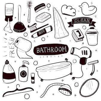Ensemble de collection de doodle dessinés à la main dans la salle de bain