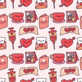Ensemble de collection doodle du modèle sans couture d'élément saint-valentin. joyeuse saint valentin