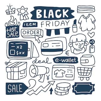 Ensemble de collection doodle de l'élément black friday.