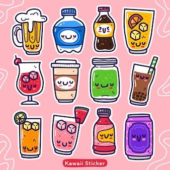 Ensemble de collection doodle d'élément de boisson