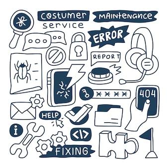 Ensemble de collection doodle d'élément de maintenance vidéo.