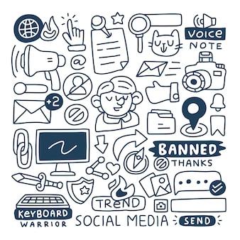 Ensemble de collection doodle d'éléments de médias sociaux.
