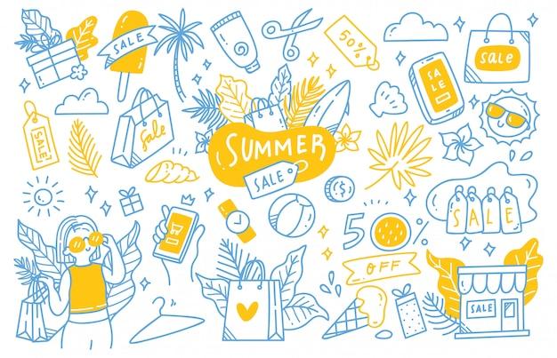 Ensemble de collection doodle de soldes d'été