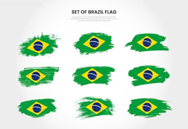 Ensemble de collection de drapeaux de coup de pinceau grunge pays brésil