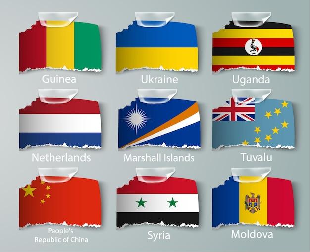 Ensemble de collection de drapeaux nigérian isolé sur blanc.