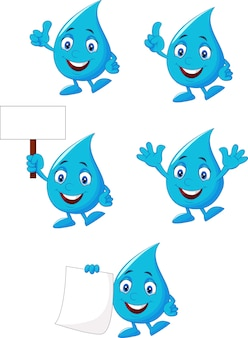 Ensemble de collection de l'eau bleue de dessin animé