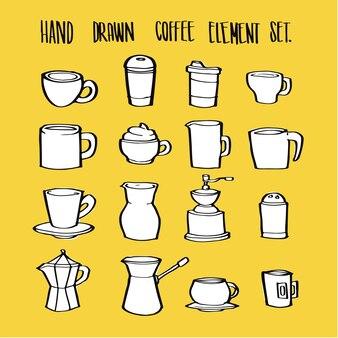 Ensemble de collection d'éléments de café dessinés à la main pour l'infographie ou autre utilisation