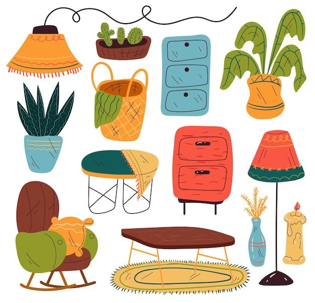 Ensemble de collection d'éléments de conception isolés de salon de meubles
