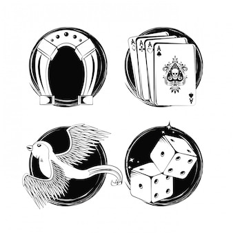 Ensemble de collection d'éléments de dessins de tatouage