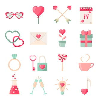 Ensemble de collection d'éléments icônes saint valentin