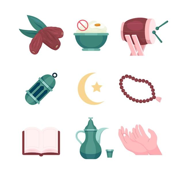 Ensemble de collection d'éléments pour les religieux islamiques