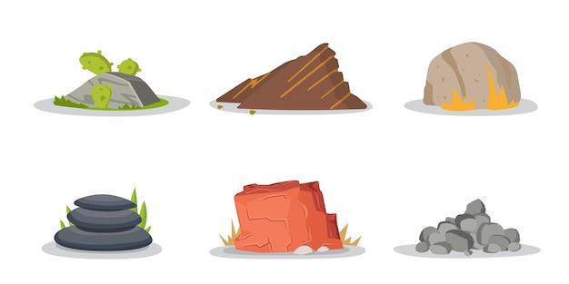 Ensemble de collection d'éléments de roches et de pierres