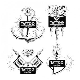 Ensemble de collection d'emblèmes de conception de tatouage